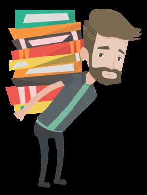 Estudiante cargando libros