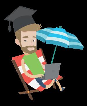 Estudiante disfrutando de vacaciones